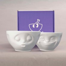 Bowl Set Tassen with Facial Motifs Kissing & Grinning