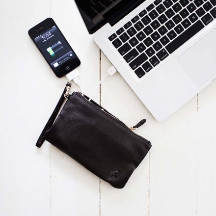 Mighty Purse Clutch with Charging Battery Original Matte Black