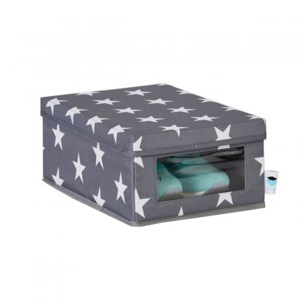 Store.It Shoe Box with Viewing Window Stars gray