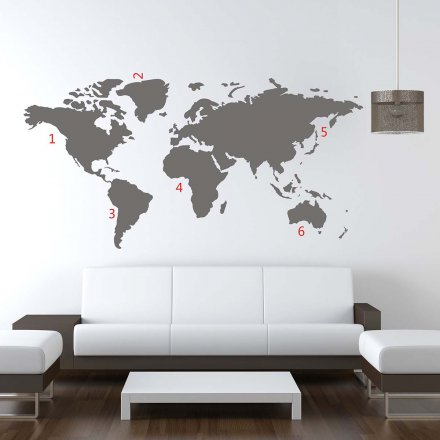 Wall Tattoo World Map 100x180cm gray