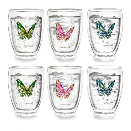 Creano Thermo-Glass Mugs Colourfly Set of 6