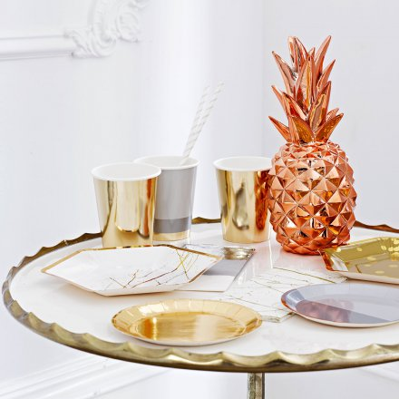 Buy deco pineapple copper online online shop for Rosegold deko
