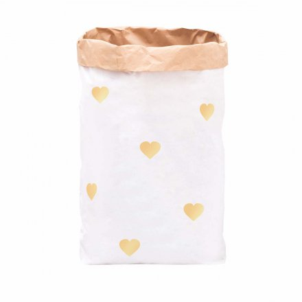 Paper Bag DIY Small Hearts gold