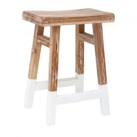 HKliving Stool Teak Dip white