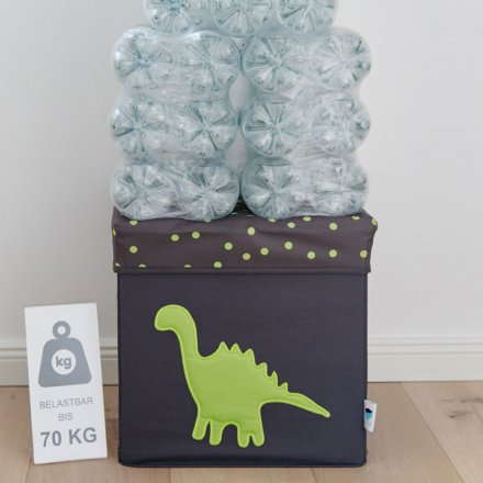 Store.It Storage Box & Seat Dinosaur gray / green