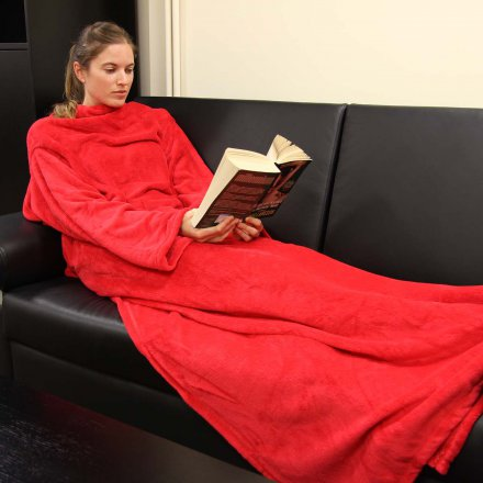 Thumbs Up Soft Blanket with Sleeves Hugz blazing red