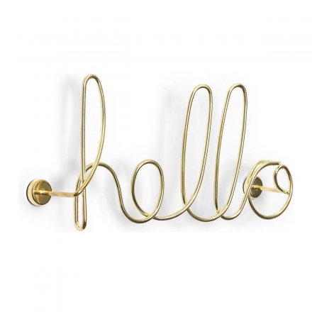 Wall Decoration Word Art Hello from Aluminum, Gold
