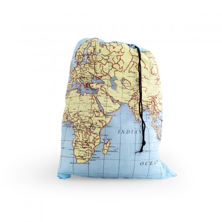 Kikkerland Laundry Bag World Map