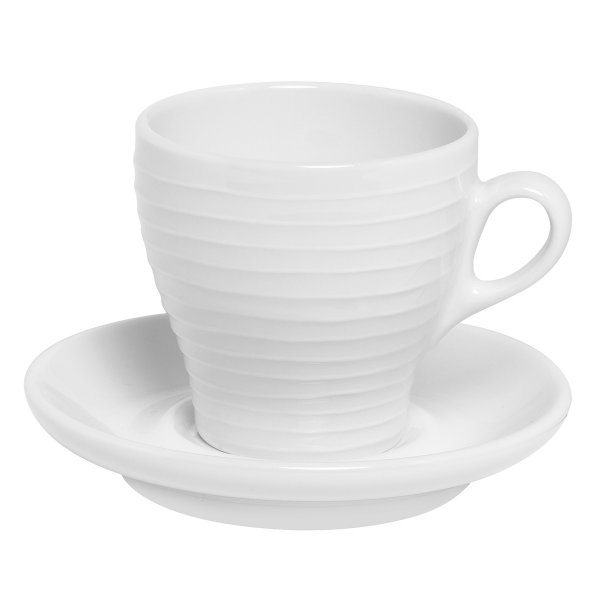 Design House Stockholm Cappuccino Cup & Saucer Blond Set of 2 white/stripe, 0.15 l.