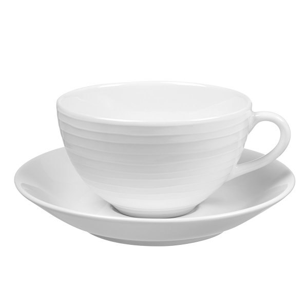 Design House Stockholm Cup & Saucer Blond Set of 2 white/stripe