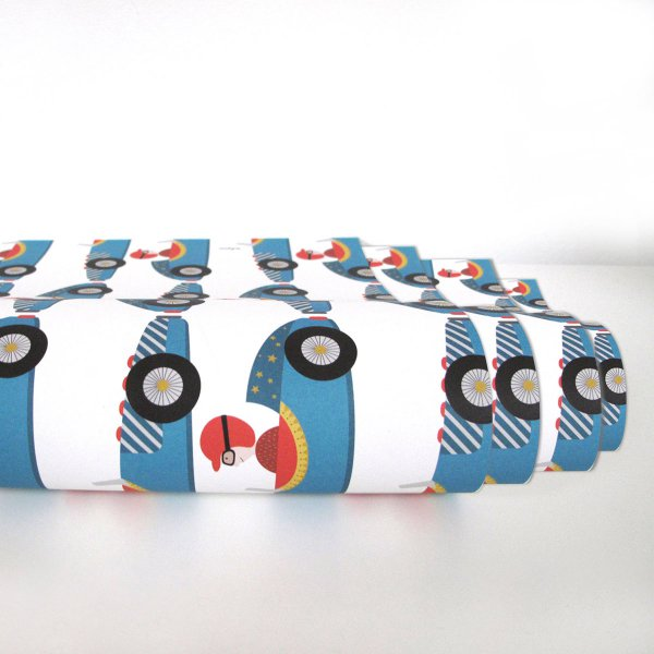 Ava&Yves Gift Wrap Paper Racing Car 4-pc Set