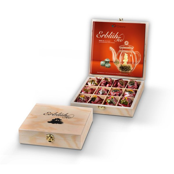Creano Abloom-Tea Set of 12 White Tea  in a Wooden Gift Box
