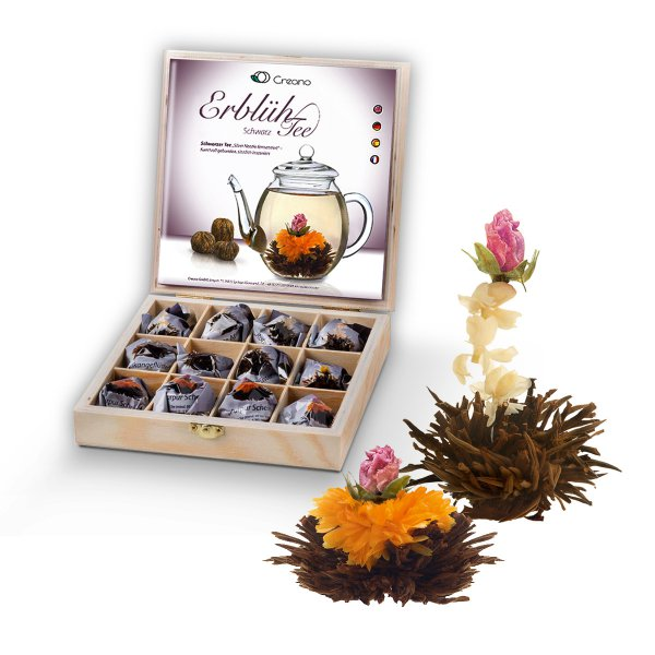 Creano Abloom-Tea Set of 12 Black Tea in a Wooden Gift Box