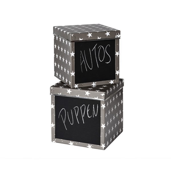 Store.It Storage Box Cube Stars Box with Blackboard 2-pc Set dark gray/white