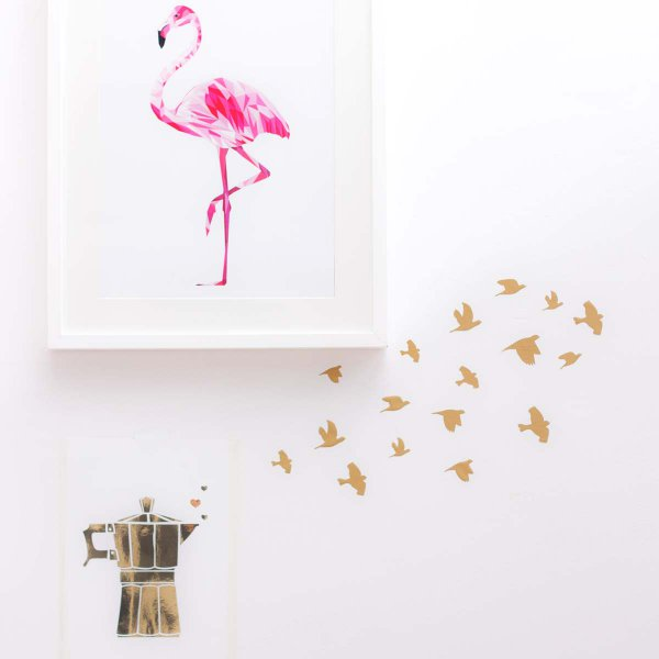 Wall Stickers Swarm of Birds Mini gold Set of 17
