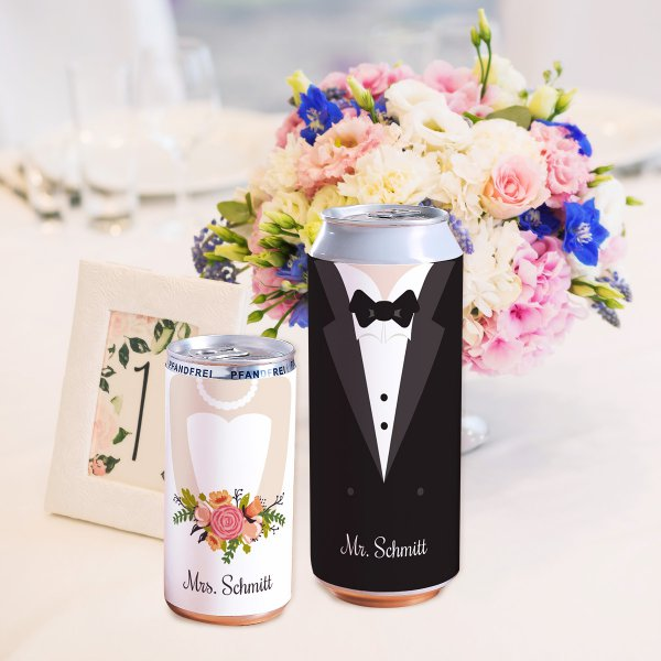 Customizable Cans Bride & Groom