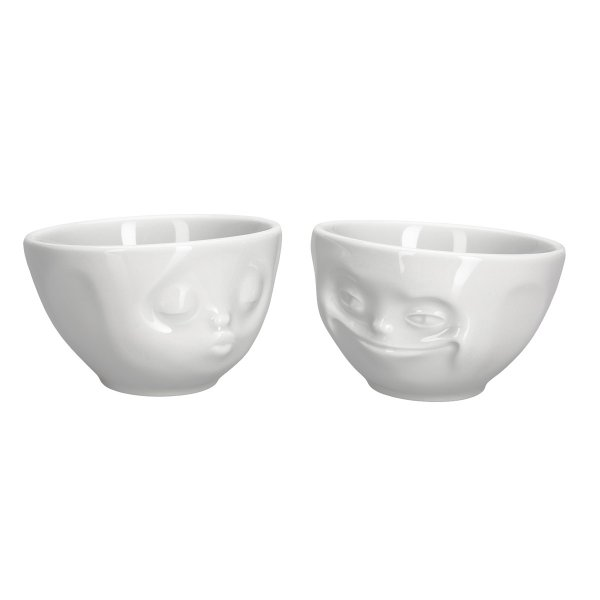 Fiftyeight Bowl Set Tassen with Facial Motifs Kissing & Grinning