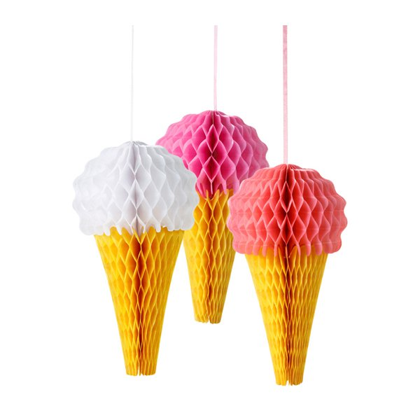 Paper Decoration 3-pc set Pink 'N' Mix Ice Cream