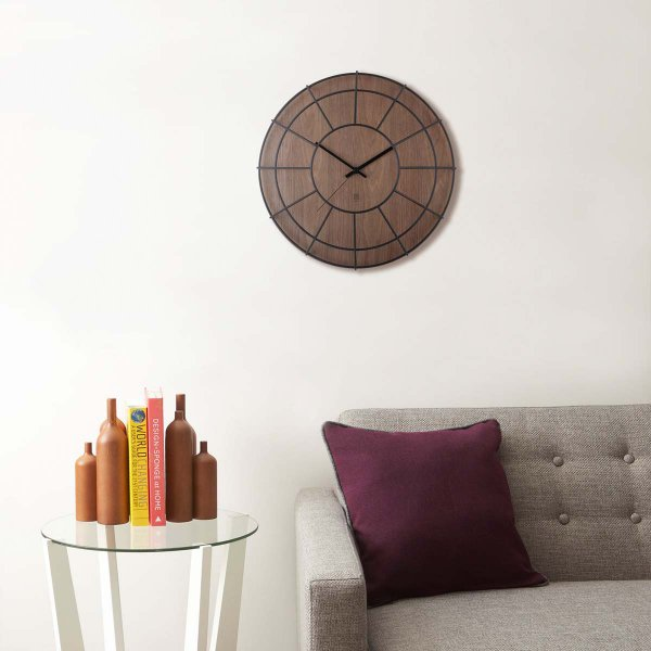 Cage Wall Clock Wood