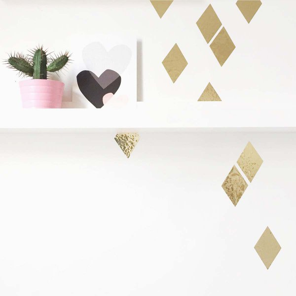 Wall Stickers Shiny Diamonds gold Set of 16