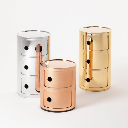 Kartell Container Componibili 3 round metallic