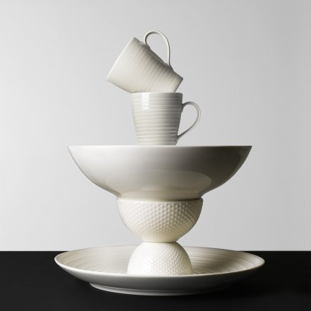 Design House Stockholm Espresso Cup & Saucer Blond Set of 4 white/stripe, 0.1 l.