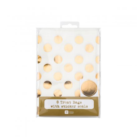 Treat Bags dotted gold Set of 8