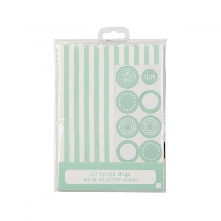 Treat Bags striped green/white Set of 10