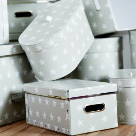 Store.It Storage Box Stars Box 2-pc Set round small light gray / white