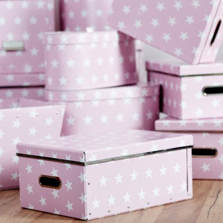 Store.It Storage Box Stars Box 2-pc Set round small pink / white