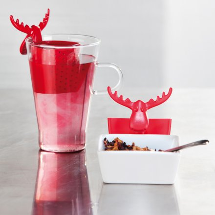 Koziol Tea Strainer Rudolf solid raspberry