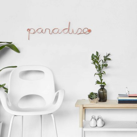 Wall Decoration Word Art Paradise from Aluminum, Copper