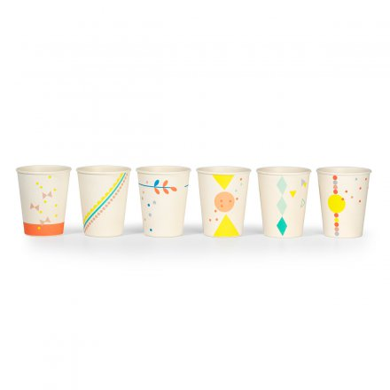 Printed Cups Bamboo Set of 6