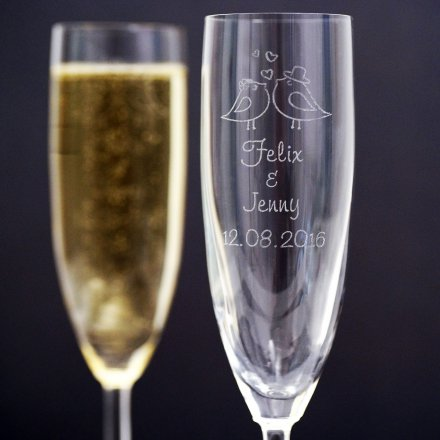 Personalized Set of 2 Wedding Champagne Glasses