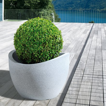 Scheurich Planter 250 Wave Globe White Granite