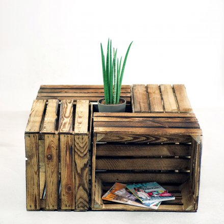 Wooden Crate with a flame finish